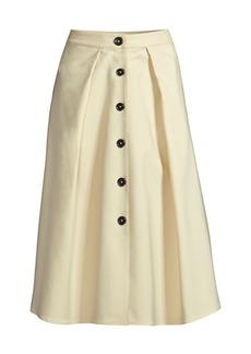 DKNY Flare Button Midi Skirt