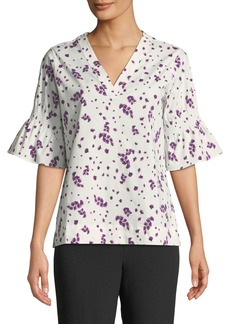 DKNY Flared Short-Sleeve Floral V-Neck Top