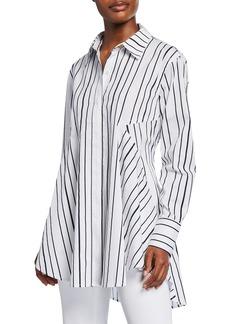DKNY Flared Striped Shirttail-Hem Blouse