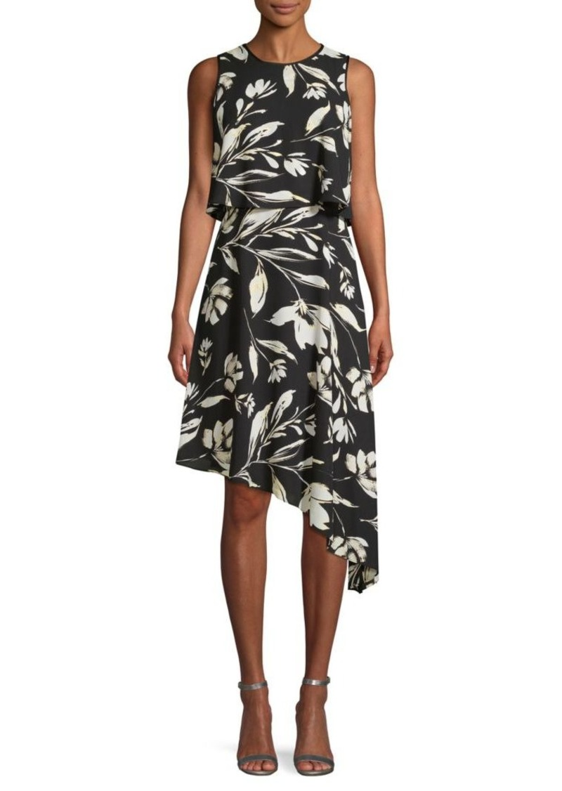 DKNY Floral Asymmetrical Dress