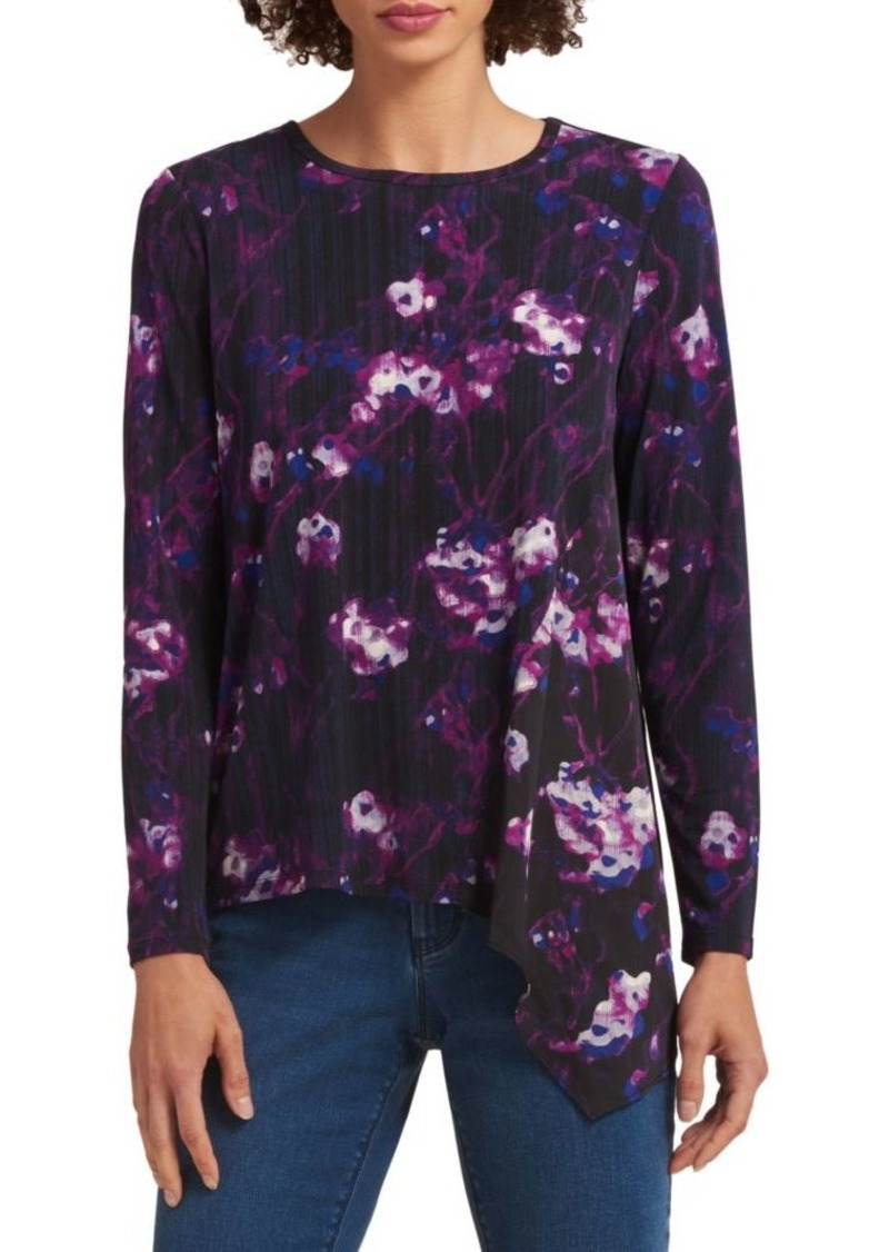DKNY Floral Asymmetrical Top