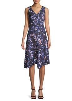 DKNY Floral-Print Asymmetric Dress