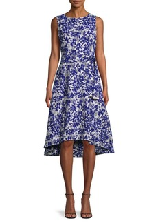 DKNY Floral-Print High-Low Dress