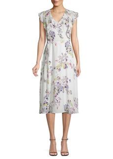 DKNY Floral-Print Ruffle Midi Dress
