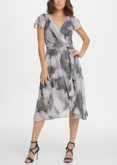 DKNY Flutter Sleeve V-Neck Dress
