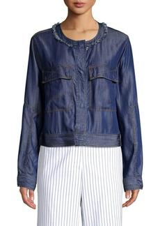 DKNY Fringe Denim Jacket