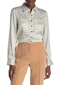 DKNY Front Button Grid Print Blouse
