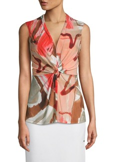 DKNY Front-Knot Sleeveless Top
