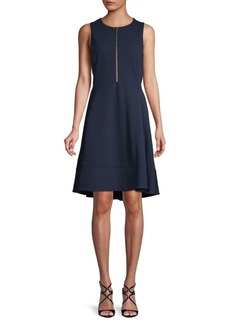 DKNY Front-Zip Fit-&-Flare Dress
