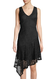 DKNY Geometric-Lace V-Neck Asymmetric Dress