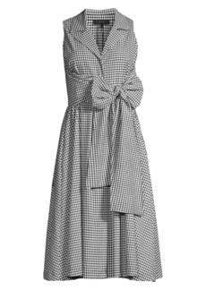 DKNY Gingham Sleeveless A-Line Shirtdress