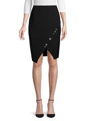 DKNY Grommet Faux-Wrap Skirt