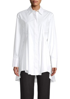 DKNY High-Low Flare Button Front Shirt
