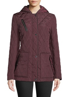 DKNY Hooded Quilted Button-Front Coat