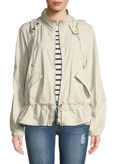 DKNY Hooded Zip-Front Peplum Jacket