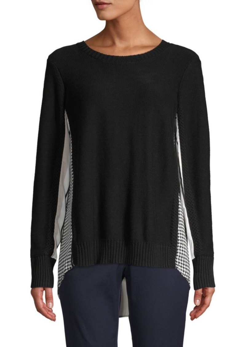 DKNY Houndstooth Contrast Sweater