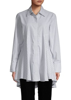 DKNY Icon Striped Peplum Shirt