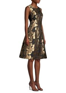 DKNY Jacquard Sleeveless A-Line Dress