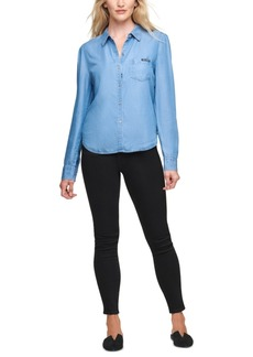Dkny Jeans Button-Front Roll-Tab-Sleeve Top