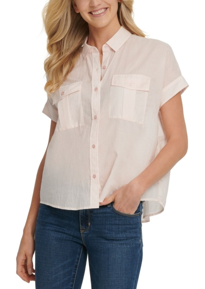 Dkny Jeans Button-Up Short-Sleeve Cotton Shirt