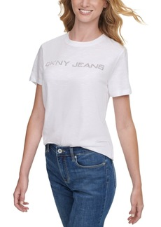 Dkny Jeans Cotton Embellished Logo T-Shirt