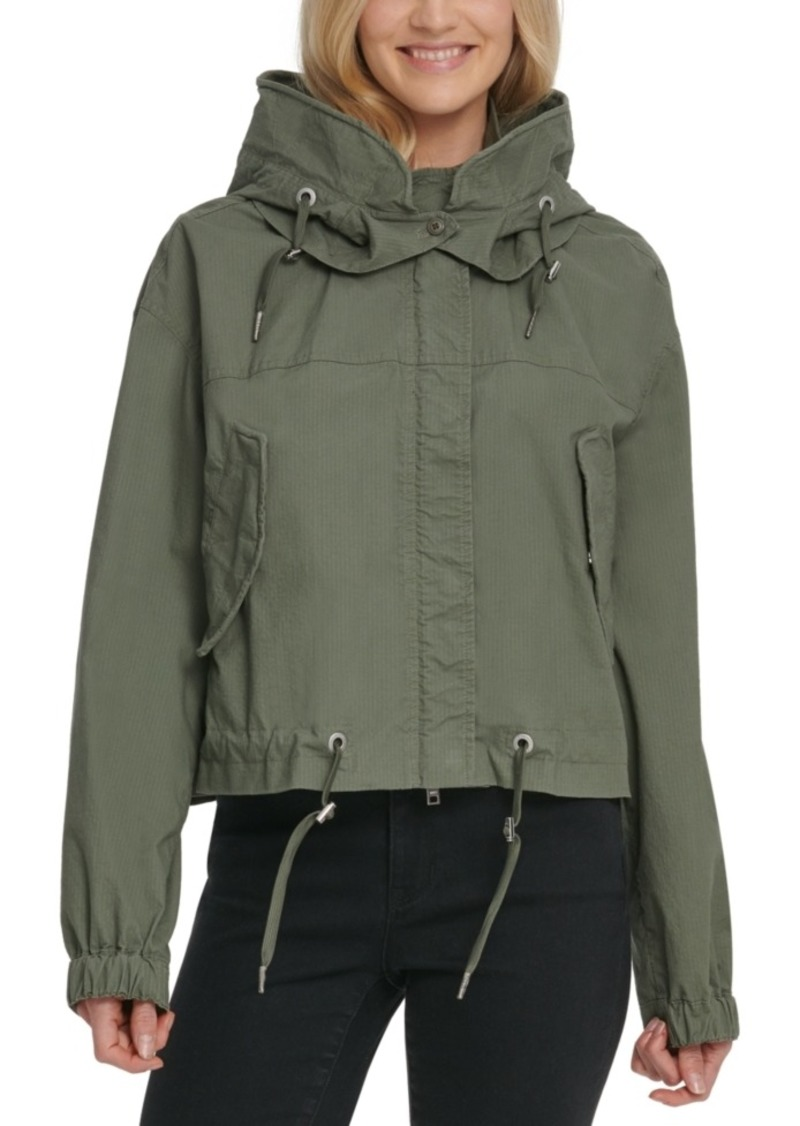 Dkny Jeans Cropped Hooded Cargo Jacket