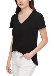Dkny Jeans Embellished V-Neck Cotton T-Shirt