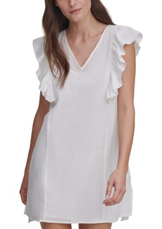 Dkny Jeans Eyelet Ruffled-Sleeve V-Neck Mini Dress