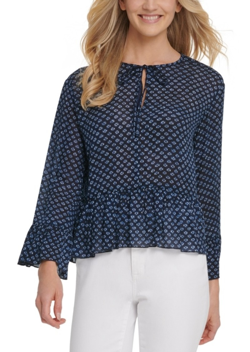 Dkny Jeans Floral-Print Ruffle Top