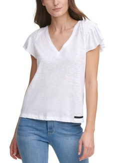 Dkny Jeans Flutter-Sleeve V-Neck Top