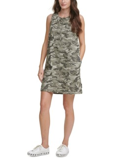 Dkny Jeans Juniors' Camo-Print Tie-Neck Dress