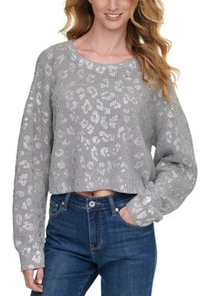 Dkny Jeans Metallic-Printed Cropped Sweater