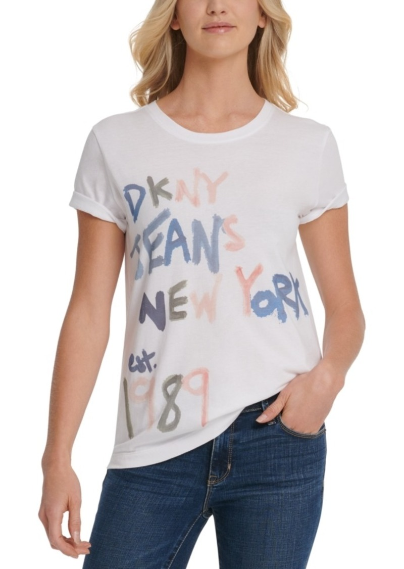 Dkny Jeans Painted-Logo-Print T-Shirt
