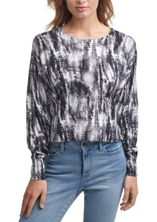 Dkny Jeans Printed Cropped Cotton Sweater