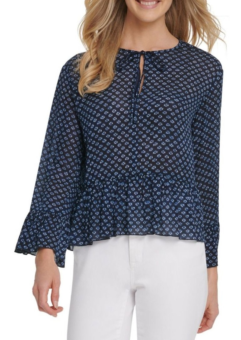 Dkny Jeans Printed Ruffled Top