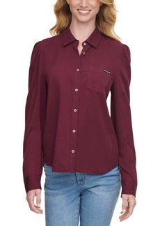 Dkny Jeans Roll-Sleeve Button-Front Shirt