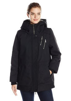 DKNY Jeans Women's Cocoon Coat with Faux Fur Lined Hood