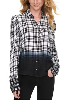 Dkny Jeans Womens Ombre Plaid Shirt