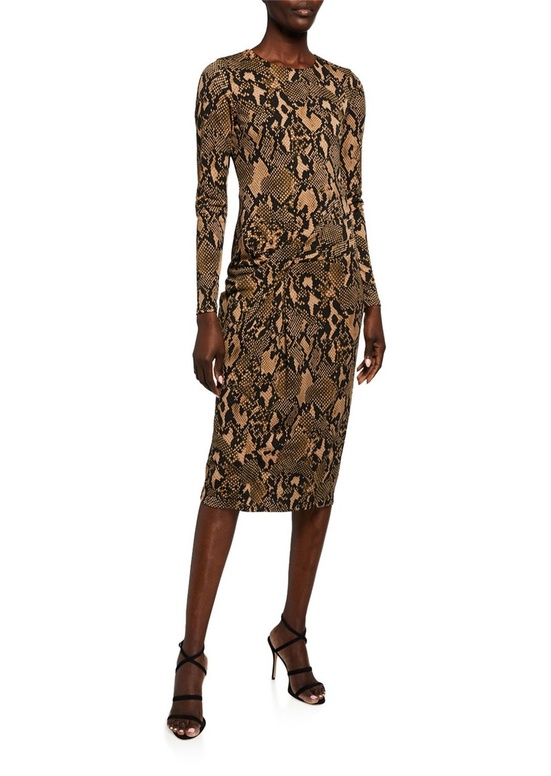 DKNY Jersey Animal-Print Twisted-Side Midi Dress