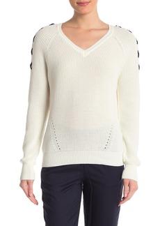 DKNY Knit Lace-Up Shoulder Sweater