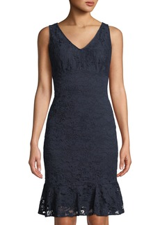 DKNY Lace V-Neck Flounce Dress
