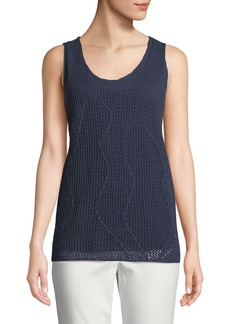 DKNY Layered Sleeveless Cotton-Linen Sweater