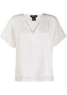 DKNY layered style V-neck blouse