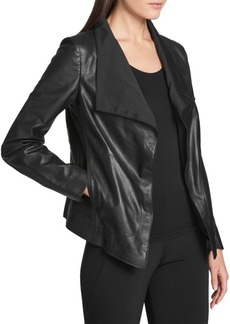 DKNY Leather Open-Front Jacket