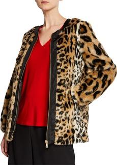 DKNY Leopard-Print Faux-Fur Coat