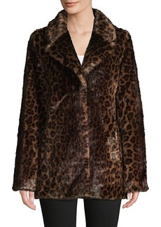 DKNY Leopard-Print Faux Fur Coat