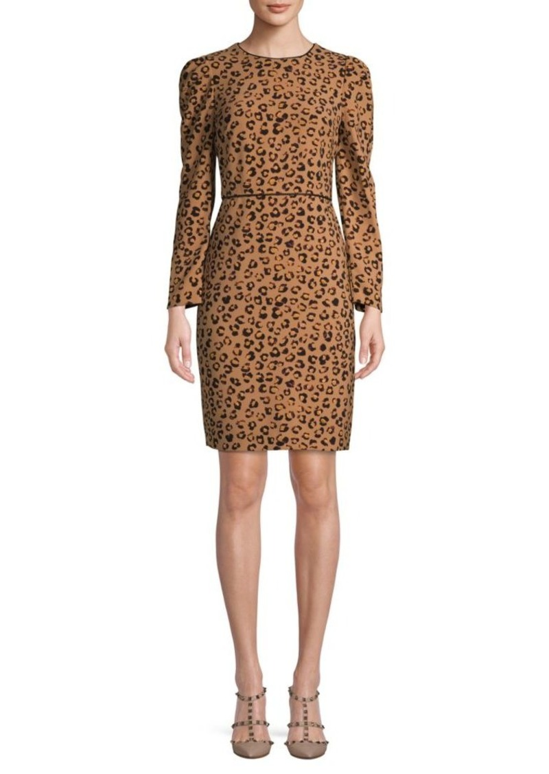 DKNY Leopard-Print Long-Sleeve Sheath Dress