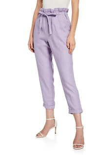 DKNY Linen Paperbag Cropped Pants