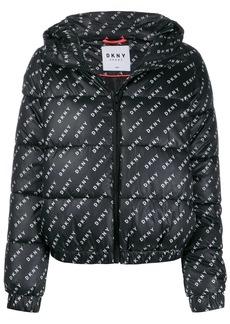 DKNY logo print puffer jacket