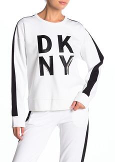 DKNY Logo Sleeve Stripe Pullover